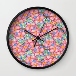 Large Pink Dogwood Flowers Tiled on Blue Background Wall Clock