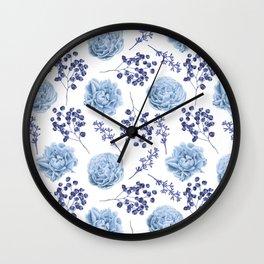 Sky Blue Roses Wall Clock