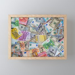 money texture. Euro and Dollars Framed Mini Art Print