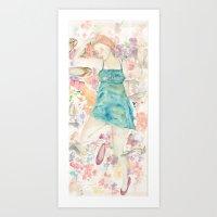 sleeping beauty Art Prints featuring Sleeping Beauty by Megan Dawn