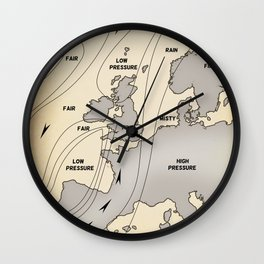 British Isles vintage weather map poster Wall Clock