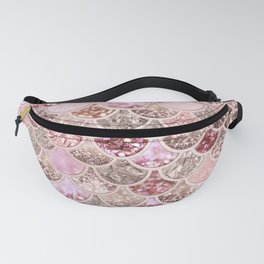 Rose Gold Blush Glitter Ombre Mermaid Scales Pattern Fanny Pack