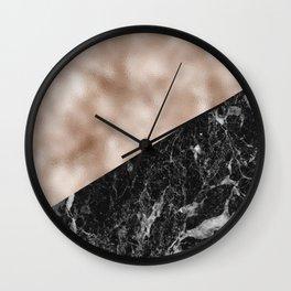 Black campari marble & beige rose gold Wall Clock