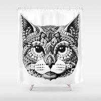mythology Shower Curtains featuring Cat Head by BIOWORKZ