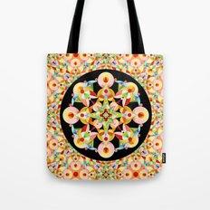 Pastel Carousel Black Circle Tote Bag