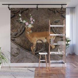 Wonderful antelope with flowers Wall Mural