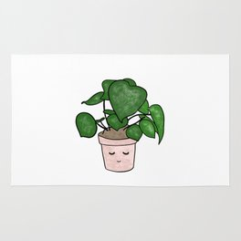 Cute plant illustration in flowerpot Rug
