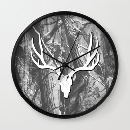 White Mule Deeer Wall Clock