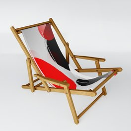 Modern Anxiety Abstract - Red, Black, Gray Sling Chair