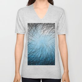 Cyan Linear Crosshatch Unisex V-Neck