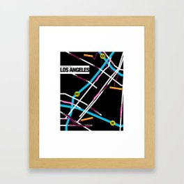 Downtown Los Angeles Map Framed Art Print