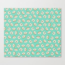Rainbow Sprinkle Donuts on Aqua Canvas Print