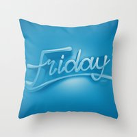 friday Throw Pillows featuring Friday by CKGD