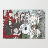 the hobbit Canvas Prints featuring Hobbit Party by enerjax