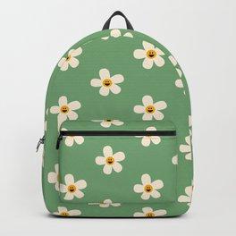 Retro Happy Daisy Flower in Green Backpack