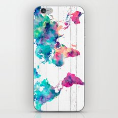 World Map Watercolor Paint on White Wood iPhone Skin