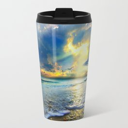 Blue Seascape Art Print Gold Sunrays Sunset Travel Mug