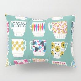 Vintage Teacups - Mid Century, Retro Teacups in pop colors by Andrea Lauren Pillow Sham