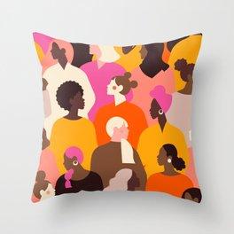 Female diverse faces Throw Pillow