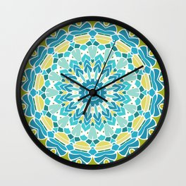 Lime Green and Turquoise Blue Mandala Wall Clock