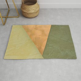 Golden Triangle With Green and Cream - Corbin Henry Color Field Rug