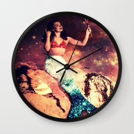 Vintage Mermaid Sparkle Wall Clock