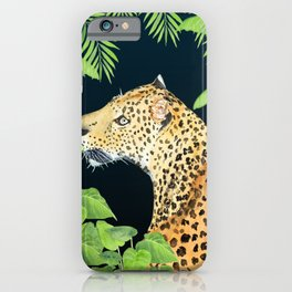 Leopard in Jungle, Night time Background iPhone Case