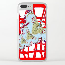 RED-WHITE MOTHS  IN SYNCHRONIZED FLIGHT Clear iPhone Case