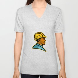African American Construction Worker Mascot Unisex V-Neck