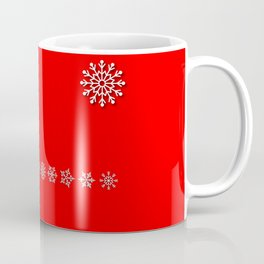 Five Different White Snowflakes in a Row on a Red Background Coffee Mug