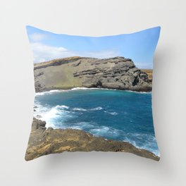 Green Beach and Turquoise Ocean Throw Pillow