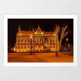Hungarian Parliament Building At Night Art Print