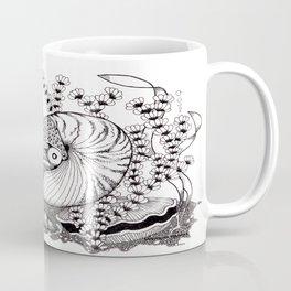 Zentangle Nautilus in the Ocean Illustration Coffee Mug