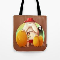 studio ghibli Tote Bags featuring Studio Ghibli - Radish Spirit by Laurence Andrew Page Illustrator
