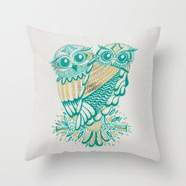 Owls – Turquoise & Gold Throw Pillow
