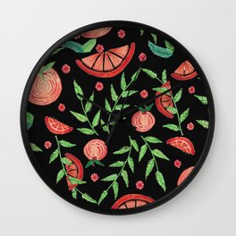 Orange - Black Wall Clock