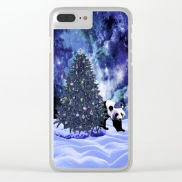 Panda's Christmas Holiday at the North Pole Clear iPhone Case