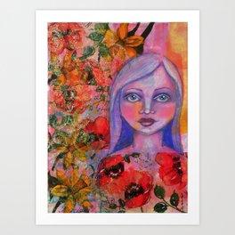 Beautiful Flower Girl Mixed Media Painting Art Print