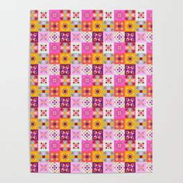 Maroccan tiles pattern with pink no4 Poster