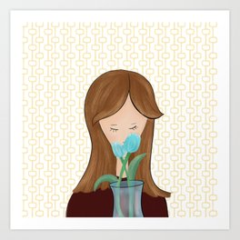 Girl With Flowers Girl With Tulips Art Print