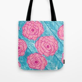 Tropical Palm Leaves and Roses Print Tote Bag