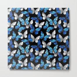 Dark Seamless Pattern with Blue Butterflies Metal Print