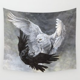 Yin Yang Owl and Raven Wall Tapestry