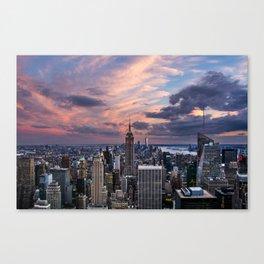 Manhattan Pink Sunset Canvas Print