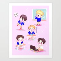 shinee Art Prints featuring school shinee by sophillustration