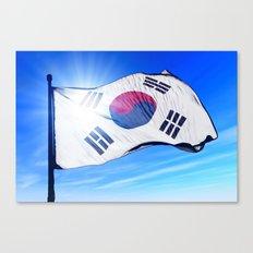 South Korea flag waving on the wind Canvas Print