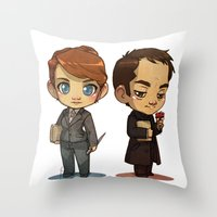 crowley Throw Pillows featuring Naomi & Crowley by Ravenno