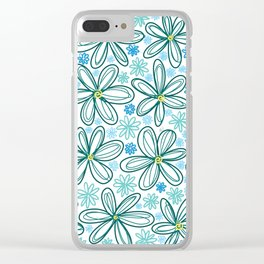 Blue Daisies Clear iPhone Case