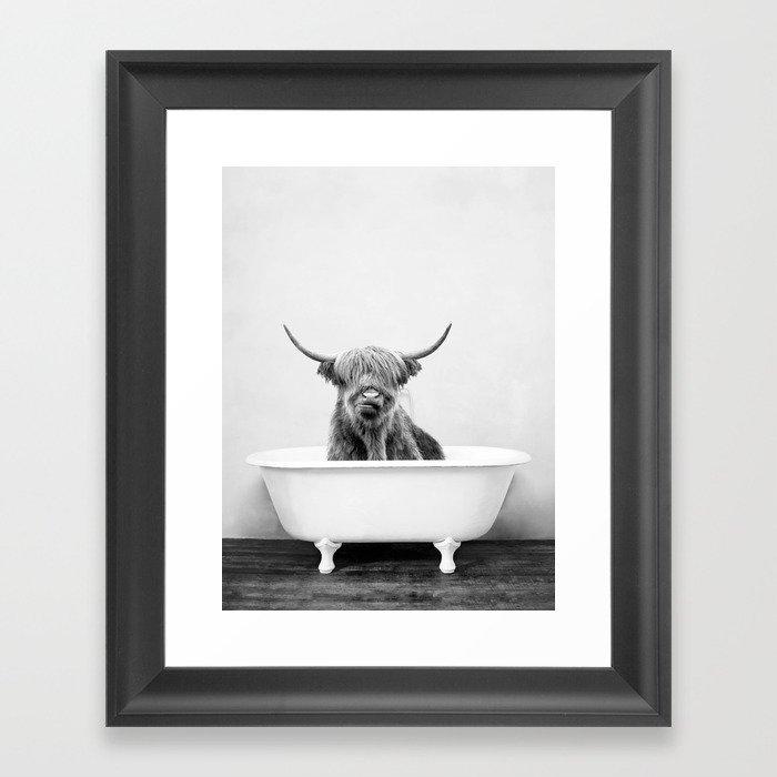 Highland Cow in a Vintage Bathtub (bw) Framed Art Print