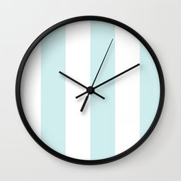 Wide Vertical Stripes - White and Light Cyan Wall Clock